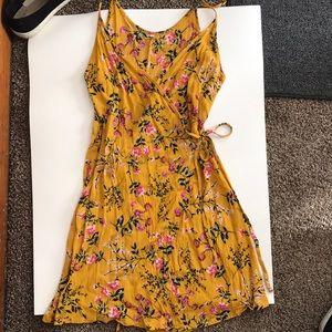 Mustard wraparound dress